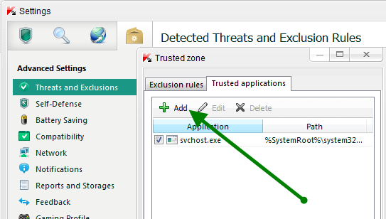 Kaspersky Firewall Settings