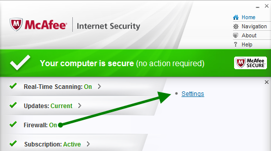McAfee Firewall Settings