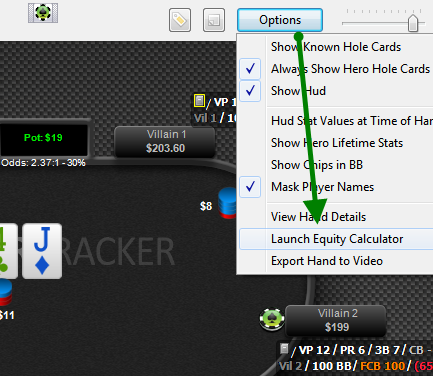 launch equity calculator from replayer