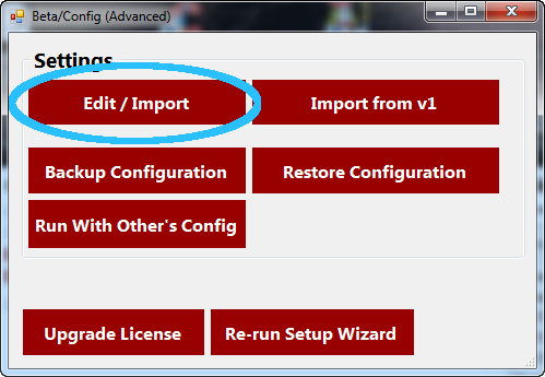 Beta/Config Window with Edit/Import Circled