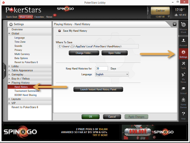 Saving PokerStars Hand Histories