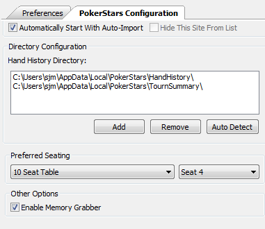 PokerStars Configuration